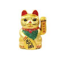 Gatto Cinese Portafortuna Dorato Zampa che si Muove Braccio H. 22,5 cm.