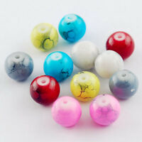 100pcs 10mm Mixed Color MARBLE EFFECT Glass Drawbench Beads DIY Jewelry Making