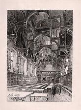 "ORIGINAL 1800s Herbert RAILTON Etching ""Middle Temple Hall, London"" SIGNED COA"