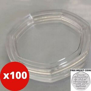 100x 50P HEPTAGON COIN CAPSULES INCLUDING 1 FREE BREXIT COIN