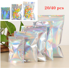 Iridescent Zip Lock Bags Pouches Cosmetic Plastic Laser Holographic Makeup Bags