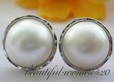 z2991 Real Huge 20mm white south sea mabe pearl earring silver