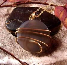 Colorful Vibrant Agate Slice Pendant Necklace Talisman Pendant in Bronze #24
