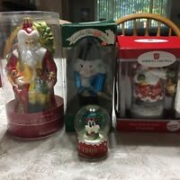 Christmas Glass Ornaments Lauscha Old World Disney American Greetings Lot Of 4