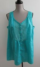 LANE BRYANT Green V-Neck Embroidery Sleeveless 100% Cotton Top Blouse Size 20