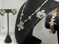 Vintage Art Nouveau Signed Cini Sterling Silver and Blue Moonstone Grand Parure