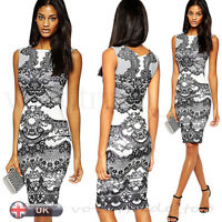 WOMEN LADY'S FLORAL VINTAGE EVENING COCKTAIL PARTY WEDDING BODYCON PENCIL DRESS