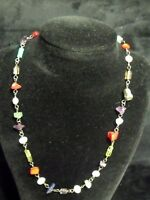 "QUALITY VINTAGE 17"" MULTIPLE SEMI-PRECIOUS STONES BEAD NECKLACE"