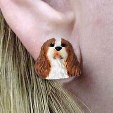 Cavalier King Charles Spaniel Blenheim Tiny One Dog Head Post Earrings Jewelry