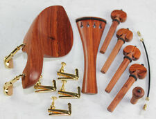 1 Set New Rosewood 4/4 Violin Parts Chinrest & Golden Clamps endpin Tuners