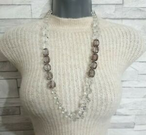Chunky Beaded STATEMENT Necklace Grey/Clear Plastic Beads Costume Jewellery