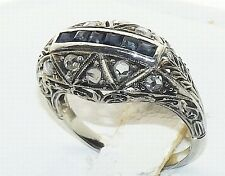 Antique 18K White Gold Diamond Sapphire Art Nouveau Deco Filigree Ring C.1910-20