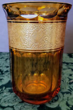Antique Moser Early 1900's Art Glass Unique Amber Buttoned Paneled & Gilded Vase