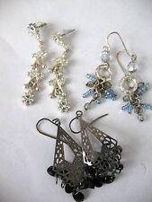 3 Pairs CZ Glass Bead Dangles Drops Gift Earrings Pierced Mixed Lot