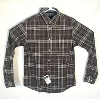 Indian Terrain Shirt Men Size Small Slim Fit Brown Blue Plaid Button Up