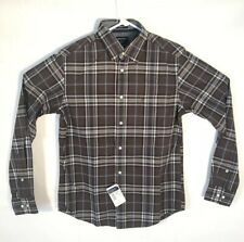 Indian Terrain Shirt Men Size Small Slim Fit Brown Blue Plaid Button Up