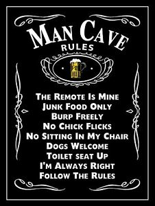 Man Cave Rules, Retro Metal Sign, Novelty Gift, Man Cave, Games Room, Bar