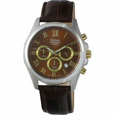 Pulsar Men's PT3397 Dress Chronograph Brown Leather Band Analog Quartz Watch