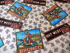 Out West Broncos Cowboy Fabric * BTY * Hi-Fashion Inc * Horses Texas Lasso *