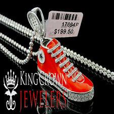 14k White Gold Finish Lab Diamond Sneaker Shoes Star Silver 925 Pendant + Chain