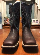 "OLD WEST 13"" Shaft COWBOY BOOTS BLUE BROWN 11 Mens NIB"