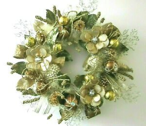 """SPARKLING GOLD METALLIC Hand Crafted FLOWER ORNAMENT 22"""" WREATH ~ New"""