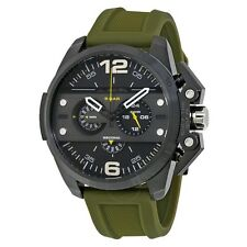 DIESEL IRONSIDE CHRONOGRAPH BLACK DIAL OLIVE RUBBER STRAP MEN'S WATCH DZ4391 NEW