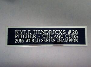 Kyle Hendricks Cubs Engraved Nameplate For A Baseball Bat Display Case 1.5 x 8