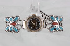 STERLING INLAID TURQUOISE CORAL STONES BUTTERFLY WATCH TIP ENHANCER 925 3590