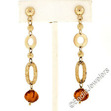 14K Yellow Gold Custom Cut Citrine Polished & Textured Long Drop Dangle Earrings