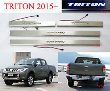 LED 4DOOR SCUFF PLATE SILL STAINLESS STEEL COVER FOR MITSUBISHI TRITON 2015 2016
