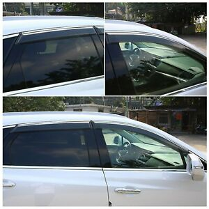 For 2013-2019 Nissan Sentra Sedan JDM Wavy Style Smoked Window Visor Vent Shade