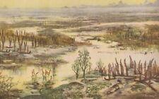 "Prehistoric LOWER DEVONIAN LANDSCAPE Color Print by Z. Burian 1963 V Fine 9x13"""