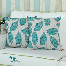 2Pcs Home Decor Teal Cushion Covers Pillows Cases Peafowl Peacock Feathers 45cm