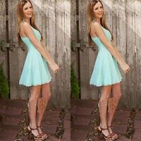 Women Summer Casual Sleeveless Party Evening Short Mini Dress Beach Dress Skirt