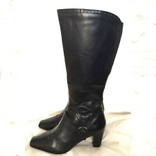 Clarks UK 5.5 Black Freeflex Leather Knee High Boots Winter Casual Office Formal