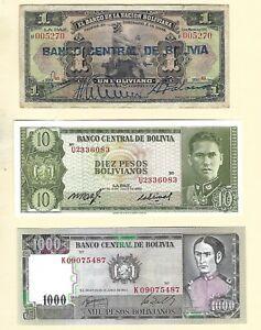 Three Bolivian 1911 1962 1982 Bolivia 1000 10 Bolivianos Banknotes Paper Money
