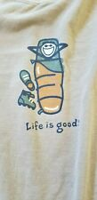 Life Is Good Tan / Brown T Shirt LS Time Out Jake Hiking Camping XL Crusher Tee