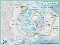 "24""x36"" Political and Physical Maps of the Arctic Region"