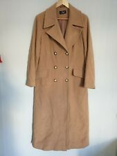 Style File Womens Wool Cashmere Trench Coat Long Jacket Beige Size 14