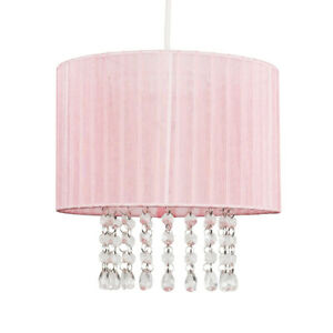 MiniSun Ceiling Light Shade - Modern Voile Easy Fit Lampshades Jewel Droplets