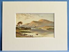BEN LOMOND AND LOCH FROM LUSS SUPERB QUALITY RARE ANTIQUE MOUNTED CHROMO PRINT
