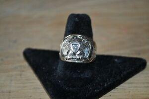 Antique vintage Gold Masonic 32 Degree Scottish Rite Ring With Diamond Size 9