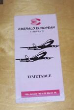 EMERALD EUROPEAN AIRWAYS TIMETABLE 16th January '95 to 26 March '95