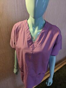Crest Purple Medium Scrub Top Medical Nurse VeterinarianVet-tech V Neck