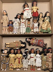 Large Lot Of 20 Vintage Native American Dolls Antique Indian