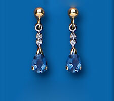 Sapphire and Diamond Earrings Yellow Gold Kanchan Sapphire Drop Earrings