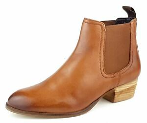 Womens Block Heel Tan Leather Chelsea Ankle Boots Size 4 5 6 7 8