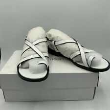 Calvin Klein Womens Tica Box Flat Sandals White Leather Toe Ring Buckle 5.5M New