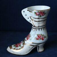 Porzellan Vase Stiletto Stiefel Barock-Motiv Schuh Gold-bemalt Kämmer Rudolstadt